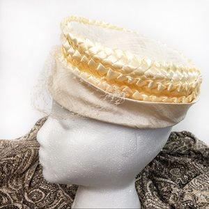Vintage Pearl Straw Pillbox Hat with Netting